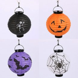 Wholesale Paper Hanging Decoration - New Arrive Halloween LED Paper Pumpkin Ghost Hanging Lantern Light Holiday Party Decor