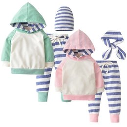Wholesale Three Piece Boys Hooded Outfit - 3PCS Newborn Baby Boys Girls Clothes Long Sleeve Hooded Pullover Tops Stripe Pants Hat Headband Infant Baby Boy Clothing Set Toddler Outfits