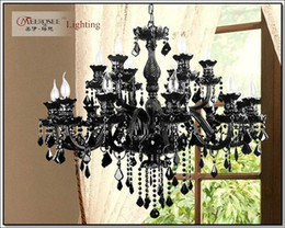 Wholesale Crystal Black Chandelier Lamp - Luxury Large Black Glass Chandelier Lighting Premium Quality Crystal Lustres Lamp for Pendant With 18 Arms MD1003