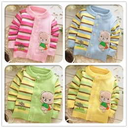 Wholesale B Cardigan - Wholesale-2015 Autumn Winter new style Baby Cartoon knit cardigans sweaters,infant fashion bear sweatercoat,V978 B