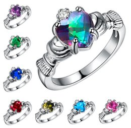 Wholesale Wedding Ring Heart Design - 8 colors Wedding Rings Austrian crystal rings gemstone rings 2016 NEW design heart ring 925 silver plated woman rings Free shipping