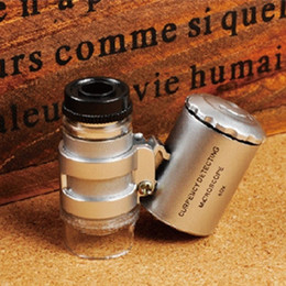 Wholesale Folding Pocket Magnifiers - 60x magnifier microscope Mini Pocket Microscope Jeweler Loupe LED Grow Light+UV+Case,LED Eye Jewelry Loupe Fold Unfold Magnifier Microscope