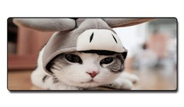 Wholesale Girls Mouse Pad - Speed Control Version Big eye cartoon cat Mouse Pad Non-slip Natural Rubber Cloth MousePad for girl for Home and Office for Starry sky