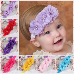 2019 pedaços de cabelo moda New Fashion Hot crianças crianças Do Bebê meninas pérola diamante 3 flores Headband Headwear Faixa de Cabelo Acessórios Peça de Cabeça desconto pedaços de cabelo moda