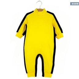 Wholesale Boys Romper 24 Months - Wholesale-2015 Summer Spring Baby romper Bruce Lee Kung Fu Baby Toddler Boy Girl Grow Onesie Jumpsuit Outfit One-Piece Track Suit 0-24M
