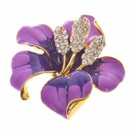 Wholesale Indian Dress For Free Shipping - lackingone 2016 christmas gift Enamel Brooch Rhinestone Crystal Lily Flower brooches for women wedding dress accessary free shipping