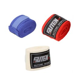 Wholesale Muay Thai Hand - Wholesale-2pcs roll 5cm X 2.5M Cotton Sports Strap Boxing Sanda Muay Thai MMA Taekwondo Bandage Weight Lifting Gloves Hand Gloves Wraps