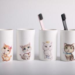 Wholesale Animal Mugs - Cartoon Cats Ceramic Lovers Mug Animal Milk Coffee Cup Creative Tea Mugs Washing Brush Cups 4 Styles OOA3790