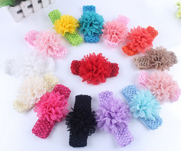 Wholesale Korea Hair Color - Children Hair Accessories Lace peony with South Korea silk hair with Baby Headband with 14 color