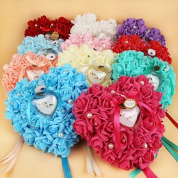 Wholesale Decorated Boxes - Wedding Ring Box Flower Decorated Heart Shape Ring Holder Rose Flower Ring Pillow 7 Colors 21*23cm