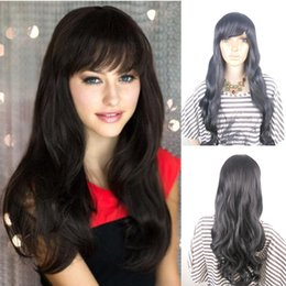 Wholesale Long Curly Hair Bangs - Elegant Long Curly Wave Synthetic Hair Wigs,100% Kanekalon Fiber Anime Cosplay Wigs with Inclined Bangs,26'' 200G Synthetic Natural Wave Wig