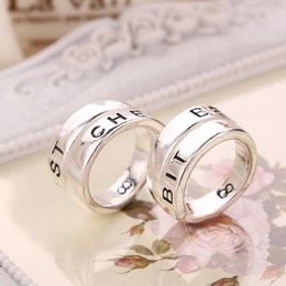 Wholesale Statement Diamond Ring - 2016 New Fashion Statement 925 sterling silver rings Letter BEST CHES Alloy Couple Rings for Women and Men 10pcs ZJ-0903243