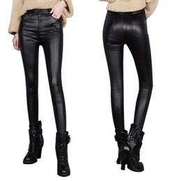 Wholesale Leather Pants Wholesale - Fashion Skinny PU Leather Pants Legging Thin Slim large size elastic pencil pants solid color leather black pants