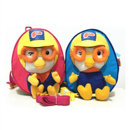 Wholesale Cartoon Penguin Bags - Wholesale-Cute Cartoon Pororo Little Penguin Bag Plush Backpack Anti Lost Bags Chilren Penguin Pororo School Bags Backpack Free Shipping