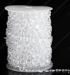 Wholesale Decor Bead Strands - Wholesale-30 Meters 99Ft Diamond Crystal Acrylic Beads Roll Hanging Garland Strand Wedding Birthday Christmas Decor DIY Curtain