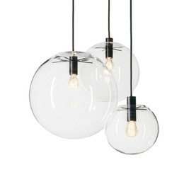 Wholesale Lustre Lamp - Nordic Pendant Lights Globe Chrome Lamp Glass Ball Pendant Lamp Lustre Suspension Kitchen Light Fixture E27 Home Lighting