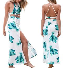 2019 vestido sem mangas com bainha assimétrica e pescoço Mais novo Mulheres Colheita Tops Conjunto de Roupas Sexy Two-piece Clubwear Vestido de Festa de Praia Quente FG1511