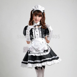 Wholesale Women S Bar Uniforms - Wholesale-Adult Fancy Halloween Party Cafe Bar Cosplay Maid Costume Women 4PCS Dress Apron Headwear Fake Collar Maid Japanese Uniforms
