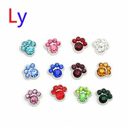 Wholesale Paw Floating Charm - CRYSTAL SILVER DOG PAW Floating charms for memory locket wholesale hot sell Mix color 120 PCS MFC2003