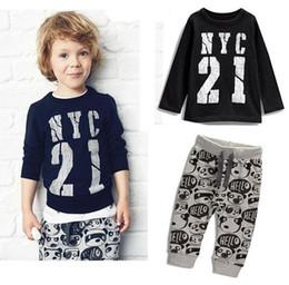 Wholesale Children Panda Suit - Boy NYC 21 lovely panda Suits 2016 new children Long sleeve T-shirt +trousers 2 pcs Suit cartoon pajamas Suits RK7834