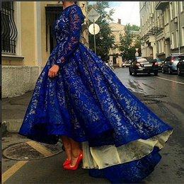Wholesale Crystal Evening Hi Low Dresses - Vestido 2015 Royal Blue Elegant Prom Evening Dress Crew Neck Sheer Lace Long Sleeve Hi Low A Line Special Occasion Dresses Party Gowns
