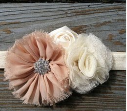Wholesale Shabby Chic Flowers Wholesale - Chiffon Flower Baby Headband Ivory Baby Headband Shabby Chic Baby Girls Headband Vintage Headband 20pcs lot