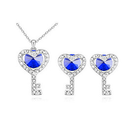 Wholesale Heart Shaped Key Necklace - Silver Key Shape Necklace Earrings Sets Heart Key Austria Crystal Jewelry Sets Korean Fashion Women Weddding Jewelry set 8227