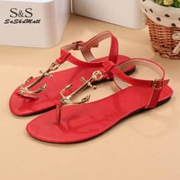 Wholesale Thongs Womens Girls - Summer Anchor Ankle Thong Flat womens beach sandals Simpel Flip Shoes T Strap Casual Slipper For Women Girls Young 22