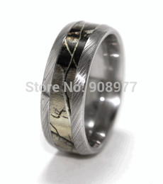 Wholesale Weddings Deals - Weekend Deals 8mm Titanium Damascus Steel Camo Ring Engagement Ring Camo wedding band lover rings