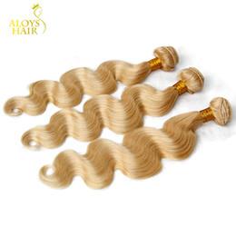 Wholesale Weft Remy Hair Extensions Platinum - Bleach Platinum Blonde Peruvian Virgin Hair Extensions Body Wave Color #613 Peruvian Remy Human Hair Weave Wefts 3 4 Bundles Lot Tangle Free