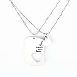 Wholesale Hearts Necklace Pendants Couple - 2016 Hot Selling the couples letters are sets of chain lovers necklace pendant gift of love and Valentine's Day ZJ-0903499