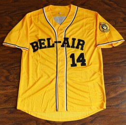Wholesale L Bel - Will Smith #14 Bel-Air Academy Baseball Jerseys Men Stitched Yellow The Fresh Prince of Bel-Air Free Shipping