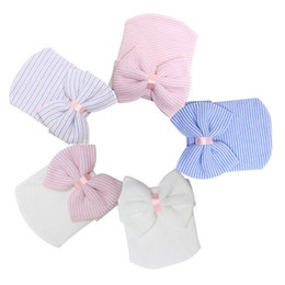 Wholesale Baby Bow Hat - Newborn Hospital Hat Wholesale Blanks Beanie with Bow Infant Hat Baby Shower Gift Free Shipping Via FedEx DOM106233