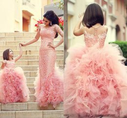 Wholesale Kids Ball Gown Red - Blush Pink Lace Princess Flower Girls' Dresses for Wedding Christmas Kids Birthday with Crew Neck Ruffles Tulle Ball Gown Party Dresses