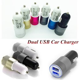 Wholesale Led Lights For Car Alloys - Metal Alloy Dual USB Car Charger LED Light 5V 3.1A 2-Ports Sync Charging Adapter Bullet Universal for iphone7 plus Samsung S7 HTC