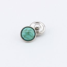 Wholesale christmas party music - Summer jewelry 12mm light green stone crackle round snap button accessory for bracelets necklaces 20pcs SN002