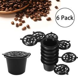 Wholesale Office Cast - 6Pcs Coffee Capsules+Spoon+Brush Set Reusable Black Mini Powder Basket For Nespresso Machine Home Office Coffee Brewing Helper