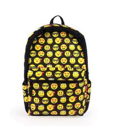 Wholesale Qq Women - Newest EMOJI QQ face smiling expression pattern backpack bag Expression School bag High Quality preppy style sport woman mochila