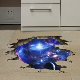 Wholesale Modern Spaces - Outer Space Planets 3D Wall Stickers Cosmic Galaxy Wall Decals for Kids Room Baby Bedroom Ceiling Floor Decoration
