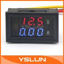 Wholesale Dc Amp Meter Dual - Wholesale-2in1 Volt Amp Panel Meter YB27VA DC 4.5-30V 5A Red Led Dual display Voltmeter Amperemeter #100172