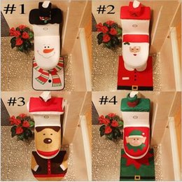 Wholesale Media Seating - 2017 Merry Christmas Decoration Santa Elk Elf Toilet Seat Cover Rug Hotel Bathroom Set Best Xmas Decorations Gifts Free DHL