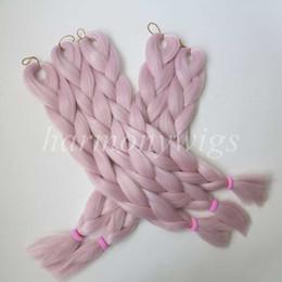 2019 светло-розовые насадки Kanekalon Джамбо косы наращивание волос сенегальский твист 24 дюйма 80 г светло-розовый один цвет xpression синтетические плетение волос T2334 дешево светло-розовые насадки