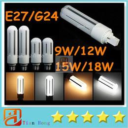 Wholesale G24 Led Pl Light - 2015 New Design PL Light LED Corn Light 9W 12W 15W 18W E27 G24 Led Bulbs CFL Lamp 360 Degree AC 110-240V