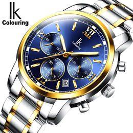 Wholesale Ik Watch Mens - Relogio masculino IK colouring Mens Watch Brand Luxury Fashion Business Quartz Watch Men Sport Full Steel Waterproof Wristwatch