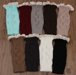 Wholesale Cable Boot Cuff - Newest women Knit Legwarmers with lace and button Cable Knit Lace Leg Warmers Boot Cuffs 6 color free shipping