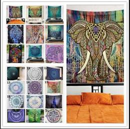 Wholesale Beach Retail - High quality retail sale 21 Design Bohemian Mandala wall Beach Tapestry 150*130cm Hippie Throw Yoga Mat Towel Indian Beach Shawl Bath Towel