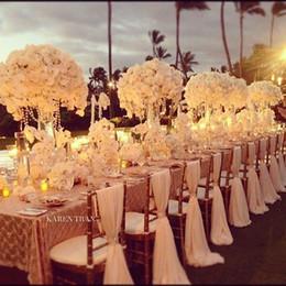 Wholesale Chair Covers Ivory - Romantic Ivory Chiffon Chiavari Chair Sashes Custom Made White Wedding Chair Covers 200cm*65cm 30d DIY Chair Wraps