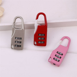 Wholesale luggage locks - Metal Smart Combination Lock Mini 3 Dial Luggage Security Code Locks For Handbag Drawer Travel Backpack Password Padlock Colorful 1 35qs B R