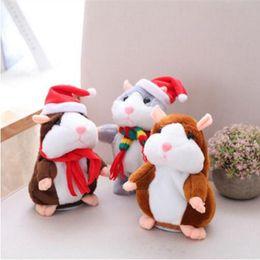 Wholesale interactive talk - 16cm Christmas Talking Hamster Plush Toy Interactive Sound Record Nod Plush Hamster Kids Stuffed Dolls 6 Styles OOA3339