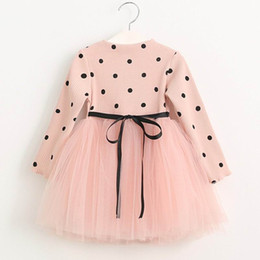 Wholesale Dress Clothes Korea - Retail Spring Autumn New Girl Dresses Korea Style Polka dot gauze Long Sleeve Princess Dress Children Clothing 2-6T AZ470